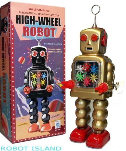 Wind Up Gear Robot High Wheel Gold Schylling Tin Toys NEW!