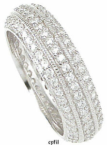 $ SALE 925 6MM Sterling Silver Pave CZ Eternity Wedding Band Ring Sz 5 6 7 8 9