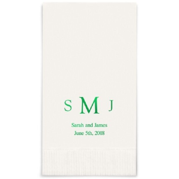 400 Traditional Monogram Printed Rectangular Fold Wedding Dinner Napkins