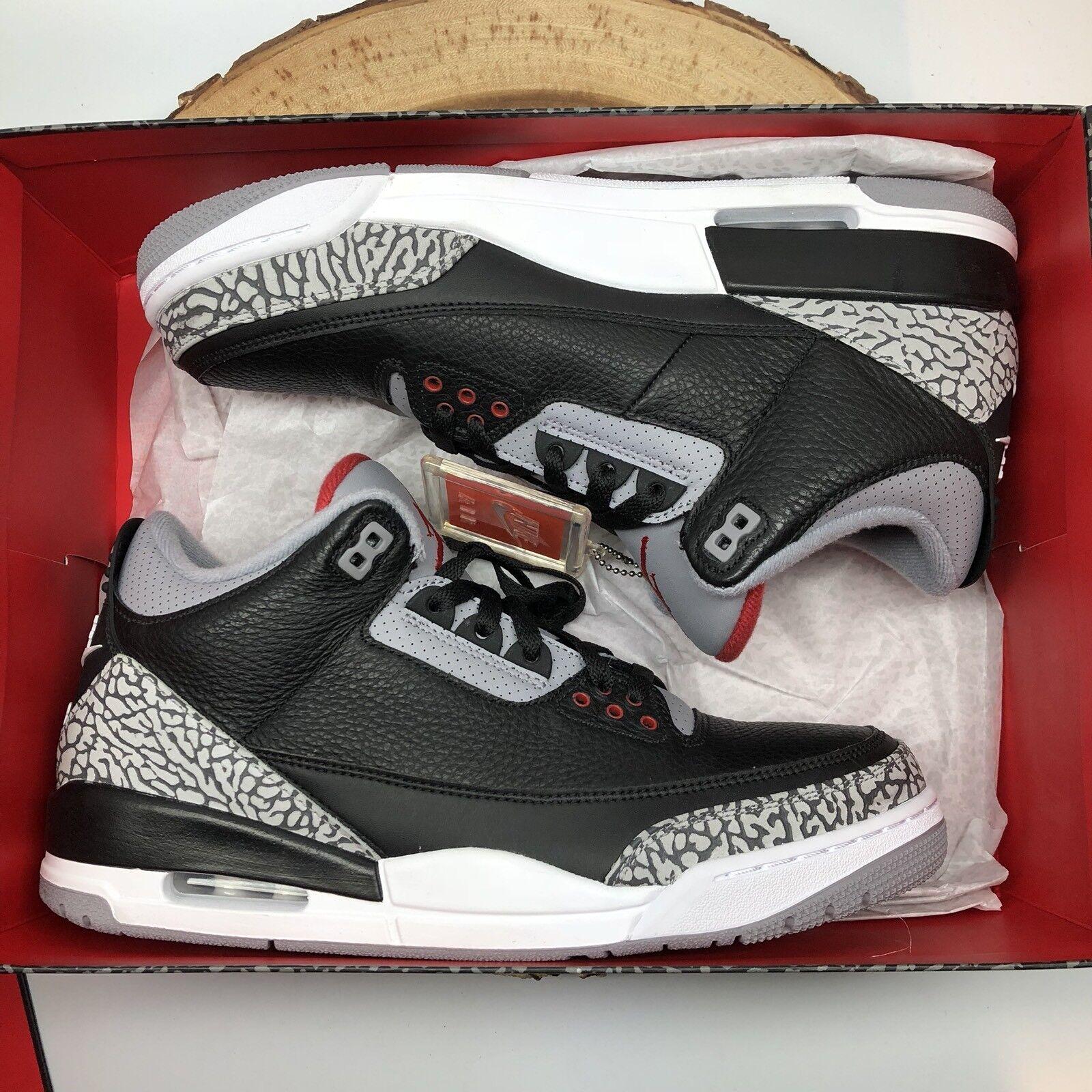 2018 Nike Air Jordan Retro 3 OG BC3 Black Cement 854262 001 Sz 10.5 White XI XII