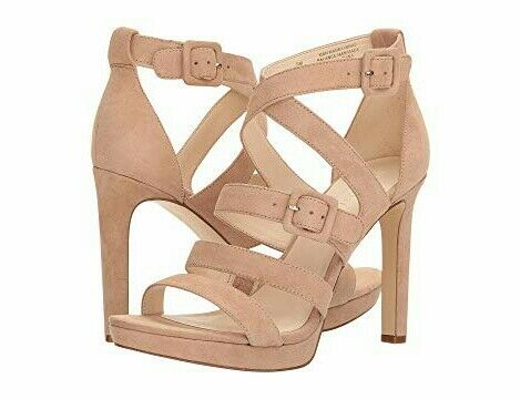 NINE WEST BARELY NUDE SUEDE STRAPPY SEXY SANDALS  SIZE 7