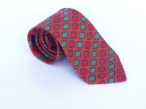 HERMES-937-IA-Men-039-s-100-Silk-Neck-tie-FRANCE-Geometric-Red-Gold-57-034-X-3-25-034