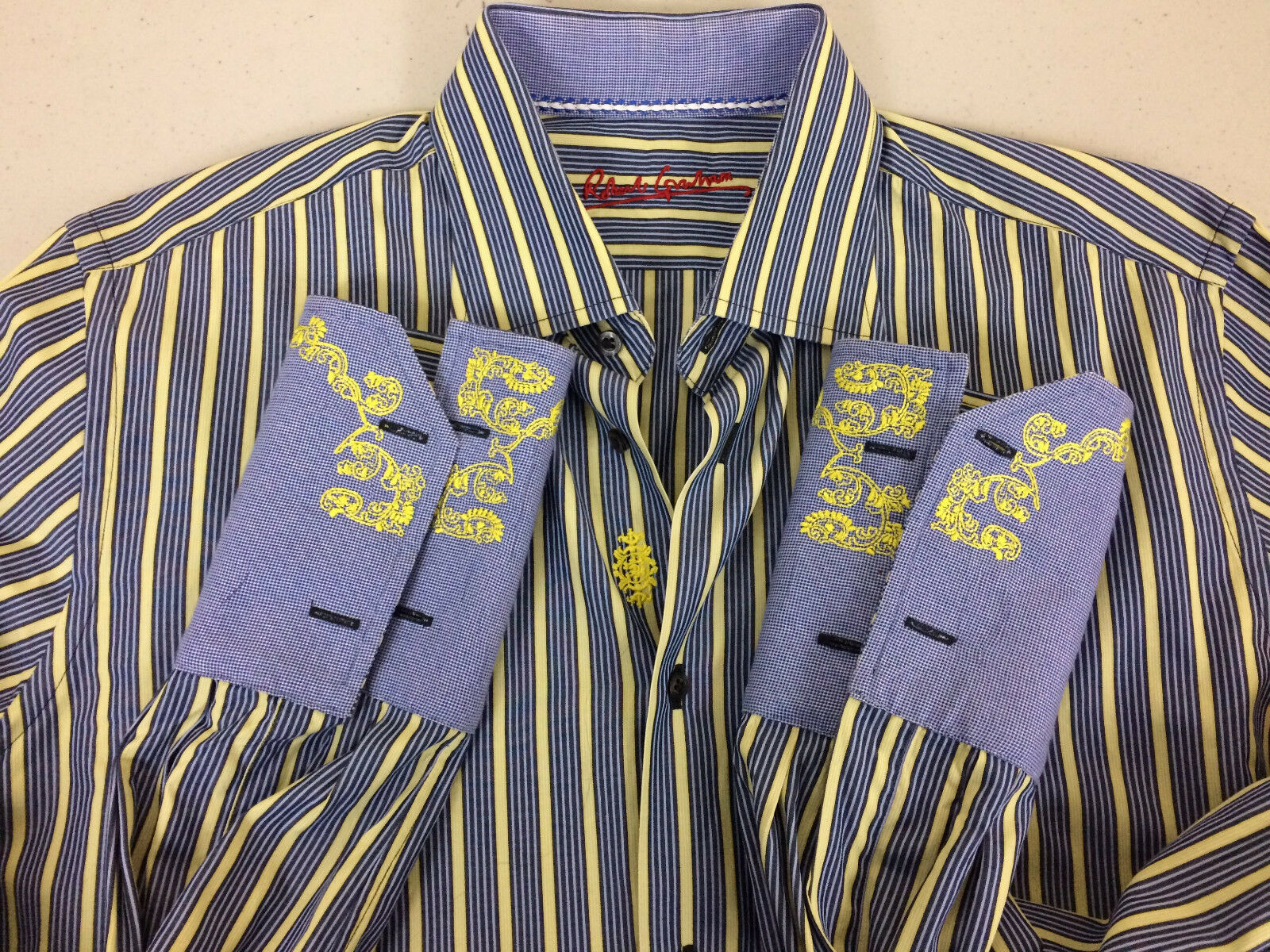 Robert Graham Men Dress Shirt Size 16 1 2 Multi-color Stripes - Very Good Cond