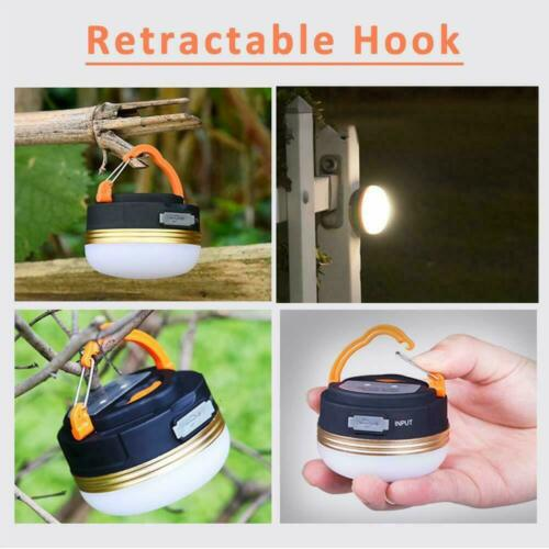 Portable Rechargeable LED Hiking Camping Tent Lantern Light USB Lamp Outdoor LD