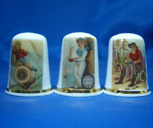 Birchcroft-China-Thimbles-Set-of-Three-Sewing-Thread-Action-Posters