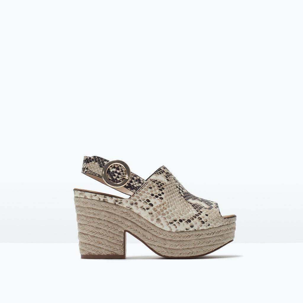 ZARA NEW SS 2015 SNAKE LEATHER PRINTED 7.5 WEDGE EUR 38 US 7.5 PRINTED REF.1485/001 NWT 5f4114