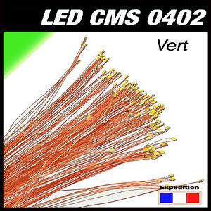 C144V# LED CMS pré-câblé 0402 vert fil émaillé 5 à 20pcs  - prewired LED green