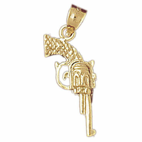 Details about  /New Real Solid 14K Gold 3D Cowboy Revolver Gun Charm