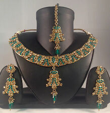 Gold & Teal Indian Fashion Jewellery,Necklace Earring & Tikka set SV14-0031