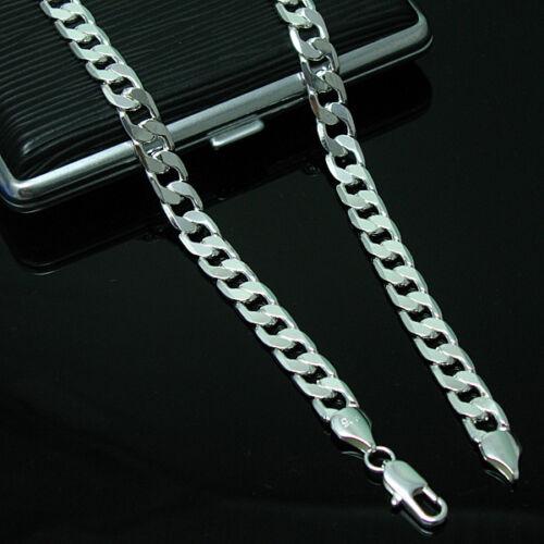 925 Silver Solid Silver 4MM Flat Sideway Chain Necklace  18inch-30inch YN132