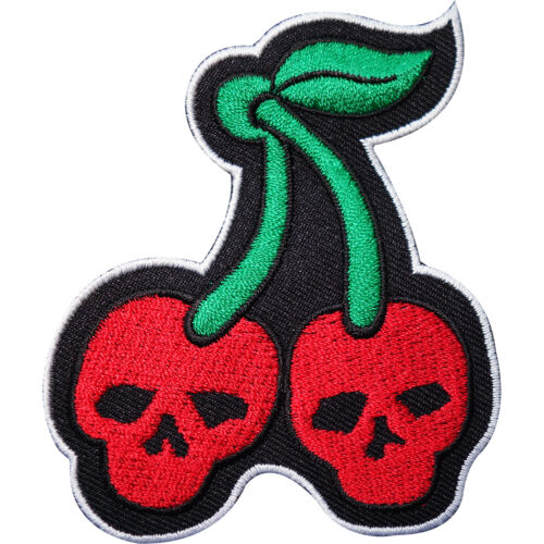Cherry Embroidered Iron Sew On Patch Red Skull Cherries Rockabilly Dress Badge