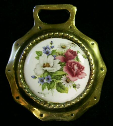Vintage FLORAL Ceramic Harness Brass COLORFUL FLOWERS Reds Whites WOW YOUR WALLS