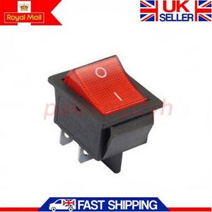 1x Rocker Switch 15a 20a Red On Off Double Pole Dpst 4 Pin 240v Uk Ebay