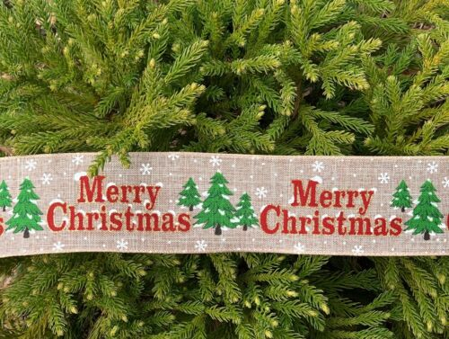 2.5 Inch Merry Christmas Tree Snow Wired Ribbon 7 Yards