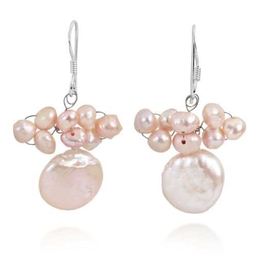 BELLE ROSE PEARL CLUSTER Disc Dangle Earrings