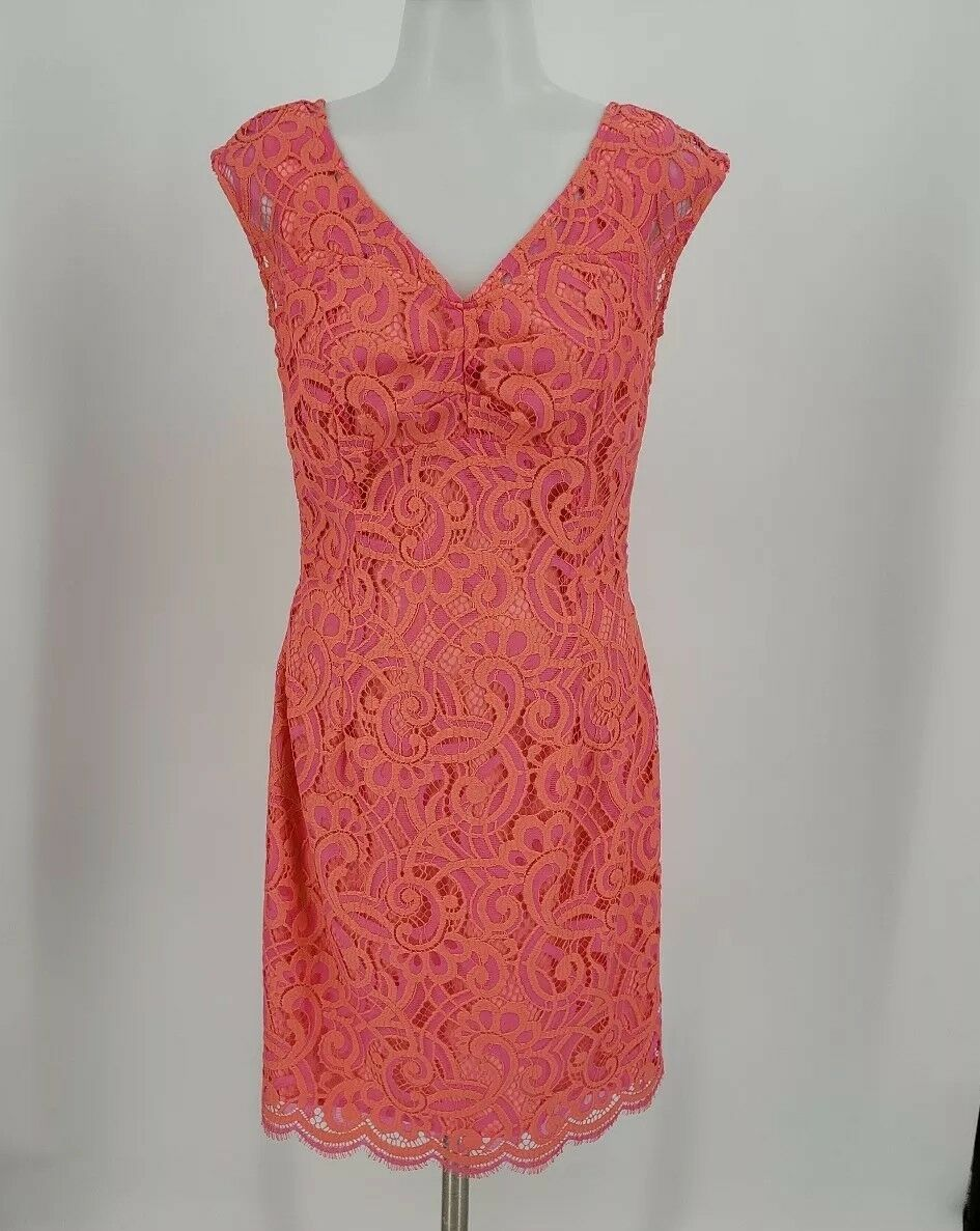 LILLY PULITZER Größe 2 Rosaline Rosa Coral Two Tone Cap Sleeve Lace Sheath Dress
