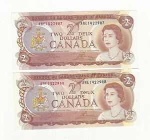 1974-Canada-2-Note-BC-47b-Cro-Bou-Ser-ARE-1422987-88-Seq-Pair