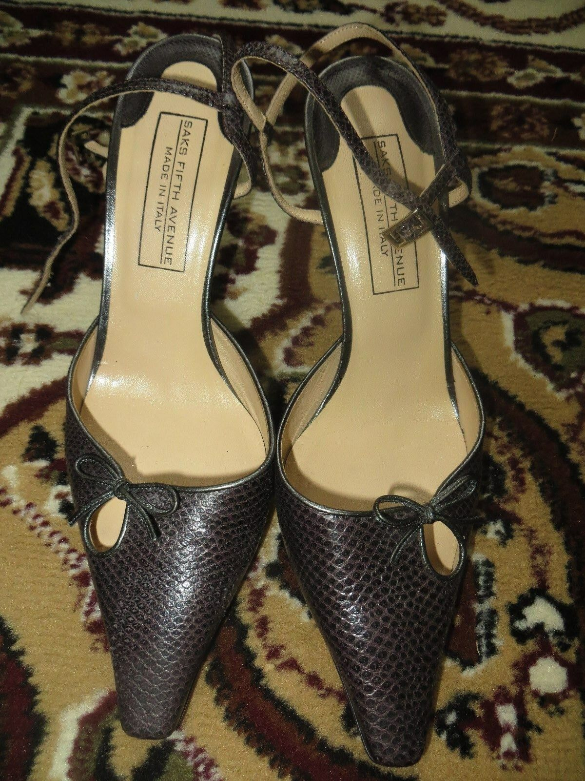Saks Fifth Avenue Made Italy Genuine Karung High Heel Pump Shoes 39.5 EUR / 8