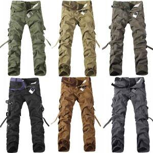 Men-039-s-Cotton-Camouflage-Cargo-Combat-Work-Pockets-Long-Pants-Trousers-Lot