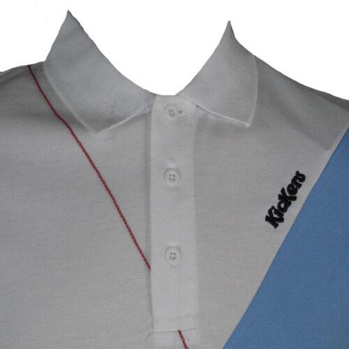 Kickers Polo Shirt in Bianco Ottico Blu Da Uomo forcourt Tennis Sports top taglia small