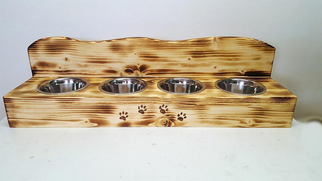Katzen Futternapf Futterstation Futterbar aus Holz 4er mit Napf NEU