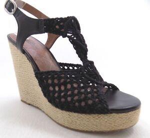 535b9743d2a Lucky Brand Womens Black Crochet Open Toe Platform Wedge Sandal Size ...