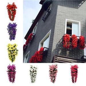 Hanging Wall Artificial Fake Silk Violet orchid Flower Rattan Plant Basket UK,