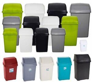 PLASTIC-SWING-TOP-BIN-WASTE-8L-15L-25L-50L-RUBBISH-DUST-HOME-KITCHEN-OFFICE