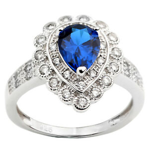 925-Sterling-Silver-Ring-Shield-Base-6x8mm-Pear-Cut-Simulated-Blue-Sapphire-CZ