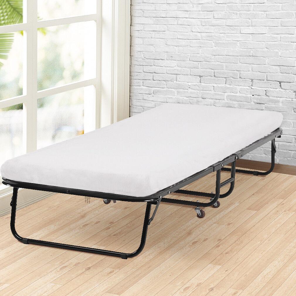 - New Folding Bed Memory Foam Mattress Roll Away Guest Portable