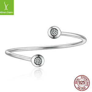 Women-Authentic-Real-925-Sterling-Silver-Bangles-Chain-Signature-With-Clear-CZ