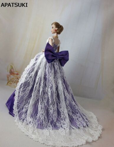 "Purple Bowknot Lace Wedding Dress for 11.5/"" Doll Princess Dresses Doll Clothes"