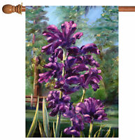Toland - Blooming Irises - Colorful Purple Summer Flower House Flag