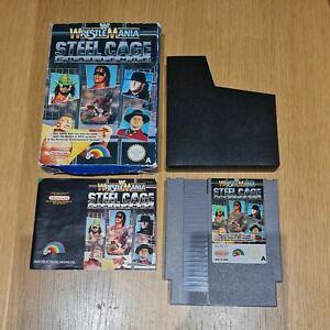 WWF Wrestlemania: Acero Jaula desafío NINTENDO NES PAL JUEGO Completo con Manual