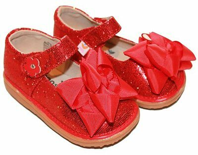 MOOSHU Trainers Squeaker Shoes NEW Red Mary Jane 2 Sz 3-8 Squeaky