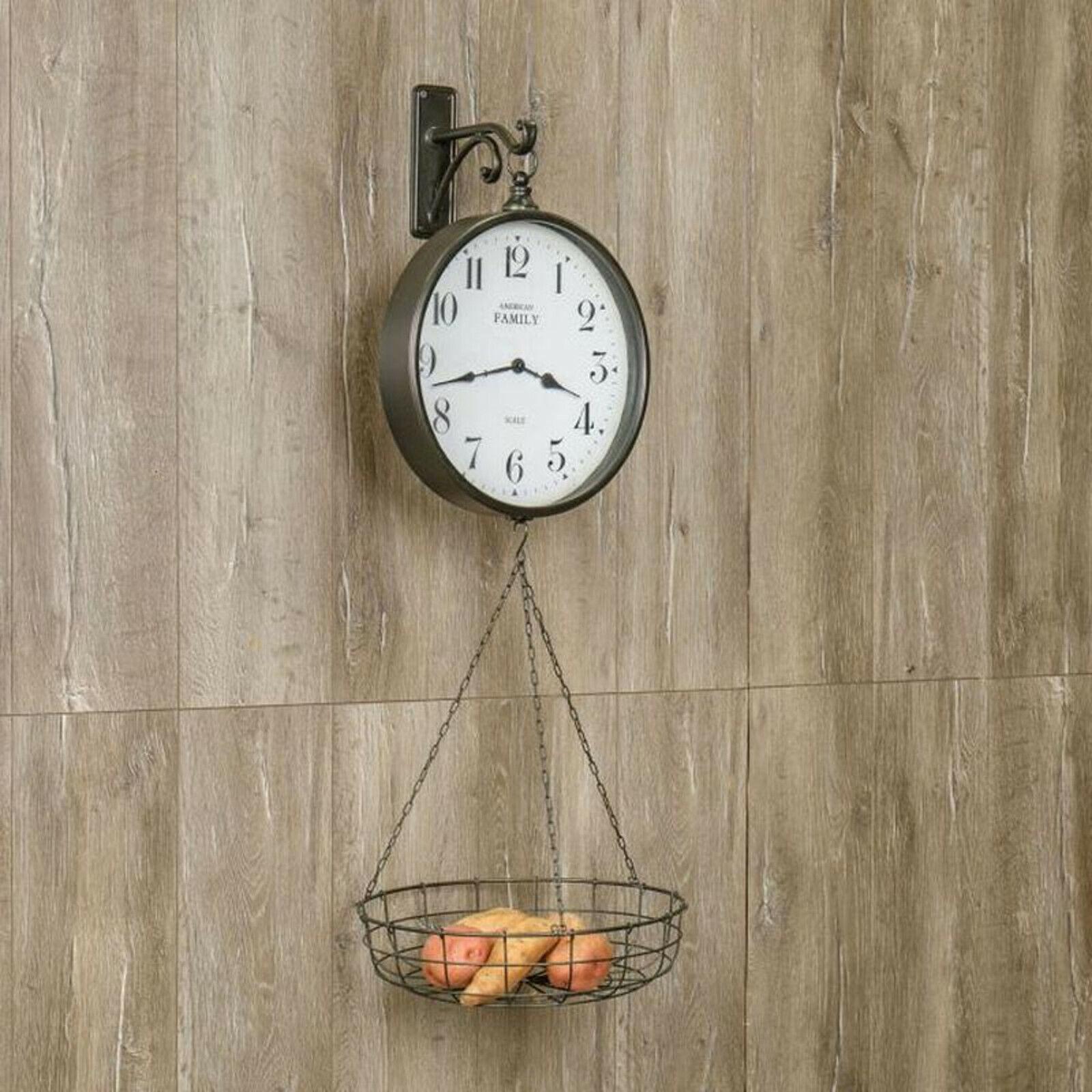 Ferme grand magasin général échelle Horloge W Hanging produire Panier Mur Crochet