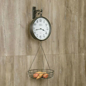 FARMHOUSE-Large-General-Store-Scale-Clock-w-Hanging-Produce-Basket-Wall-Hook