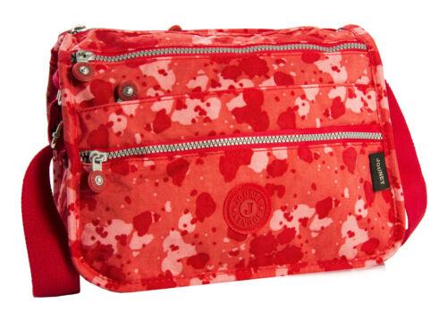 Womens Fabric Multiple Zip Pocket Lightweight Messenger Shoulder Cross Body Bag