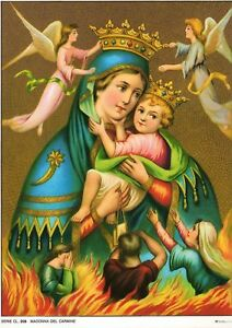 Catholic-Print-Picture-OUR-LADY-MT-CARMEL-Purgatory-ready-to-frame-7-1-2-x-10-034