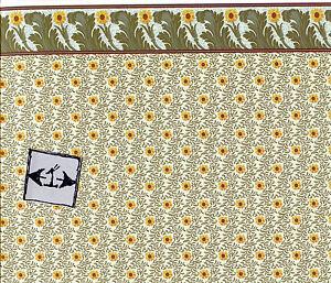 Brodnax-Prints-034-Sunflower-034-1AC102-Arts-amp-Crafts-wallpaper-dollhouse-1-12-scale