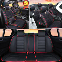 Full Car Suv 5-seats Seat Covers Front+rear Cushion Deluxe Pu Leather W/pillows