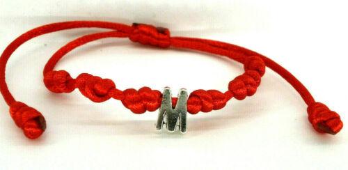 """Pulsera  /""""Inicial M/"""" charm en plata tibetana y cordón rojo"""