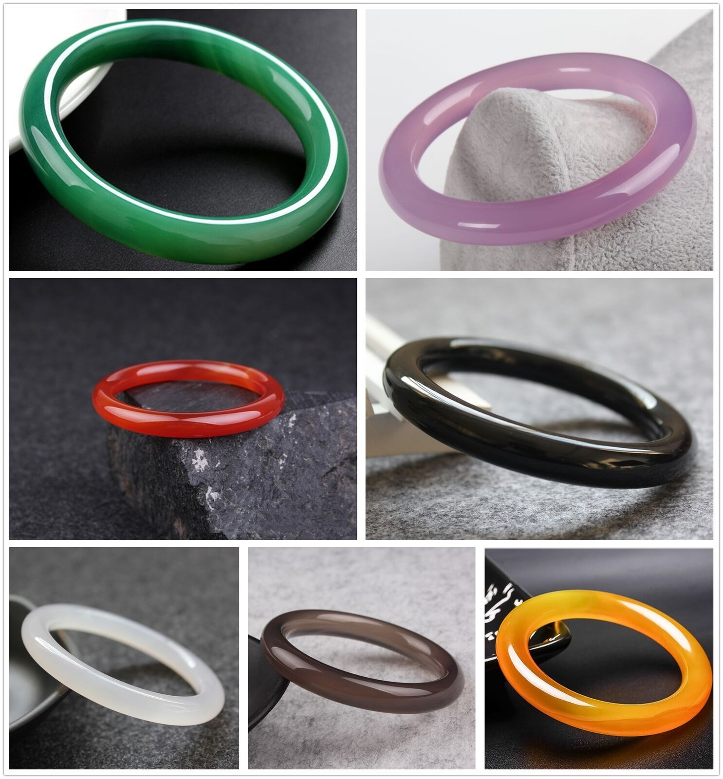 Fashion 100/% Natural Line Agate Chalcedony Jewelry Bangle Bracelet 56mm-62mm