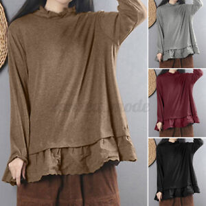 Chemise-Femme-Haut-Shirt-Manche-Longue-Couture-de-dentelle-Casual-Couleur-Unie