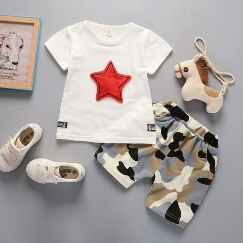 Summer 0-4Y Boys clothing set new fashion design cotton with five-star pattern