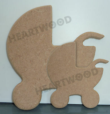 PRAM SHAPE IN MDF/WOODEN CRAFT SHAPE/DECORATION