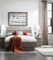 3 Piece Truffle Brown Full Platform Bed Nightstand Set Bedroom Home Furniture