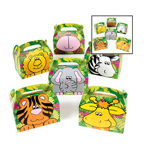 Image Is Loading Safari Zoo Animals Treat Gift Boxes Birthday Party