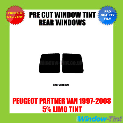 PEUGEOT PARTNER VAN 1997-2008 Rear Windows 5/% LIMO BLACK Pre-Cut Window Tint