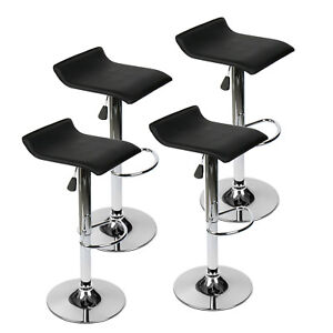 Wondrous Details About Set Of 4 Bar Stools Pu Leather Backless Swivel Adjustable Pub Bar Dining Kitchen Squirreltailoven Fun Painted Chair Ideas Images Squirreltailovenorg